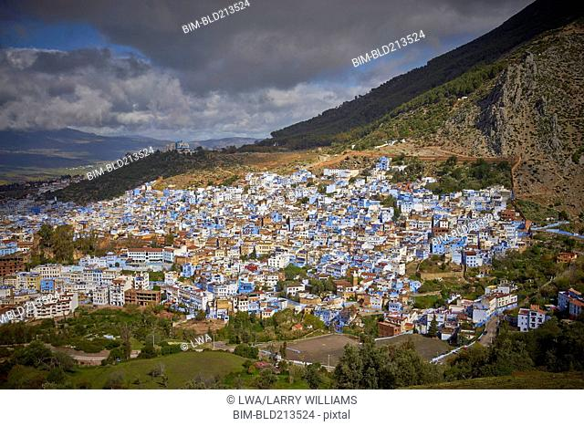 Colorful cityscape in rural valley, Chefchaouen, Morocco