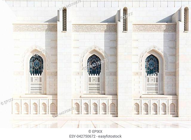 Exterior detail of the Sultan Qaboos Grand Mosque in Muscat, the main mosque of The Sultanate of Oman