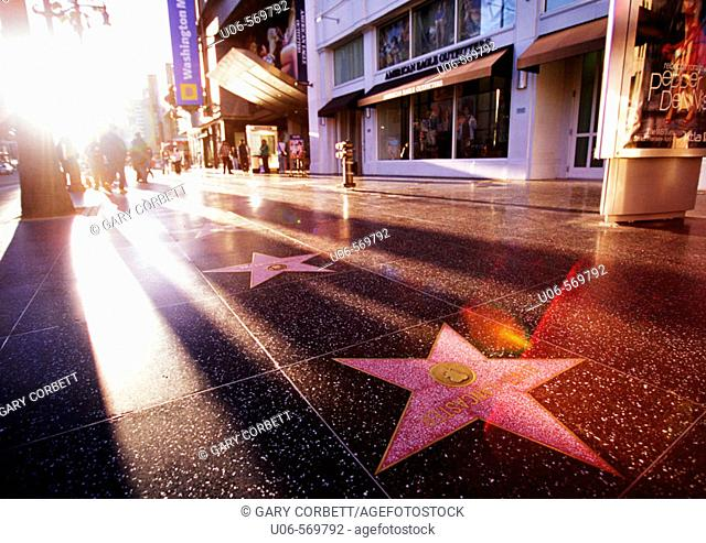 The Walk of Fame and celebrity stars on Hollywood Boulevard in Hollywood, California, USA