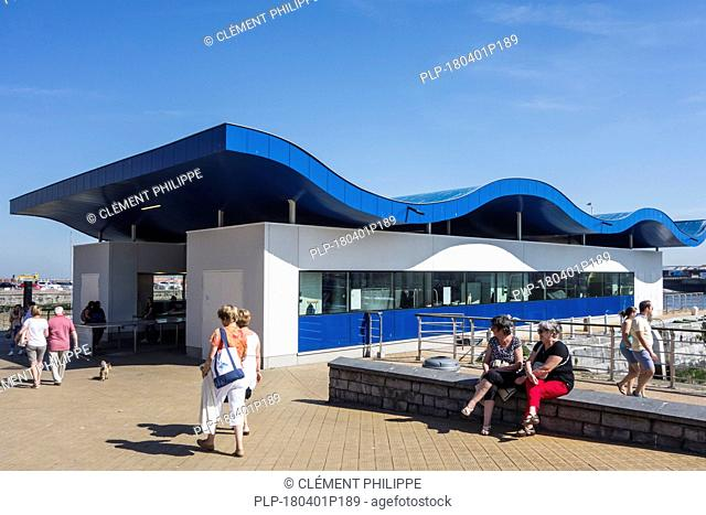 Open-air fish market / Vistrap on the quay / wharf in the city Ostend / Oostende, Belgium