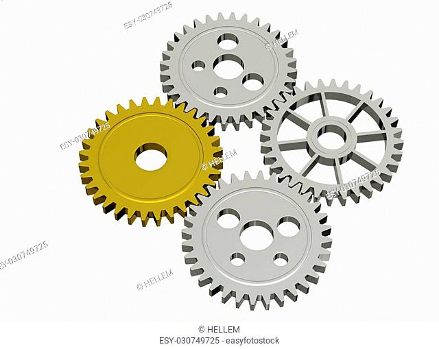 Silver and gold chrome gears isolated on a light background