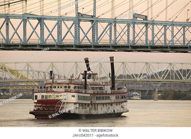 Riverboat on Ohio River &, Roebling Suspension Bridge, Cincinnati, Ohio, USA
