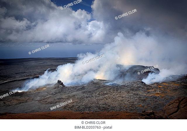 Volcano letting off steam, Kilauea, Hawaii, United States