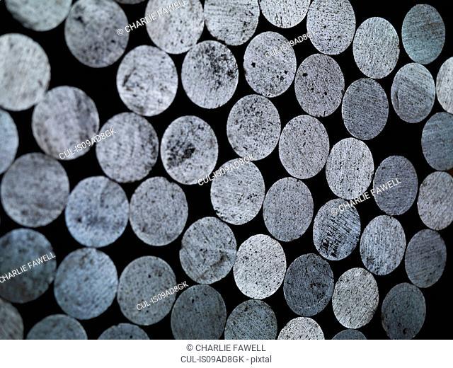 Stack of round steel billet