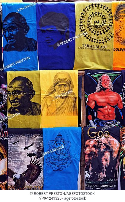 India - Goa - Anjuna Market - display of T-shirts at a market stall