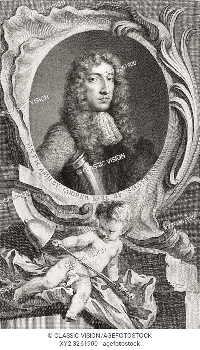 Anthony Ashley Cooper, 1st Earl of Shaftesbury, 1621-1683. English politician. From the book The Heads of Illustrious Persons of Great Britain