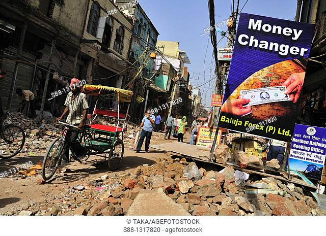 Main shopping street Paharganj where is front of New Delhi satiation, is on big road work Width of the street got wider All the shops facing to the street had...