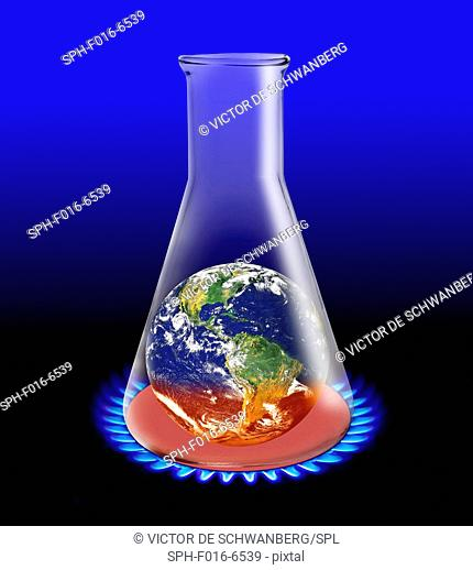 Laboratory flask with planet earth being heated up, illustration