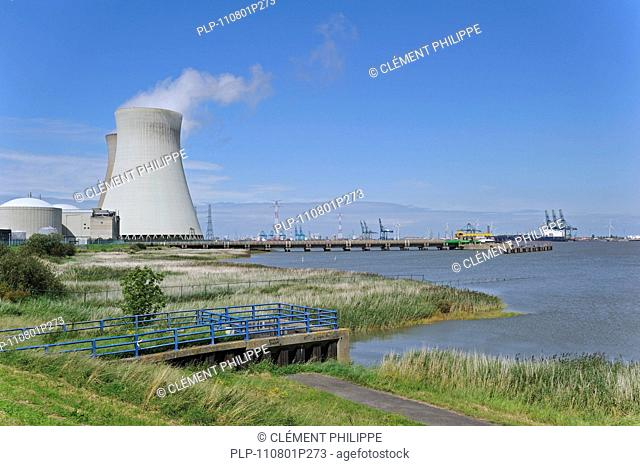 Cooling towers of the Doel Nuclear Power Station along the river Scheldt at Kieldrecht / Beveren, Belgium