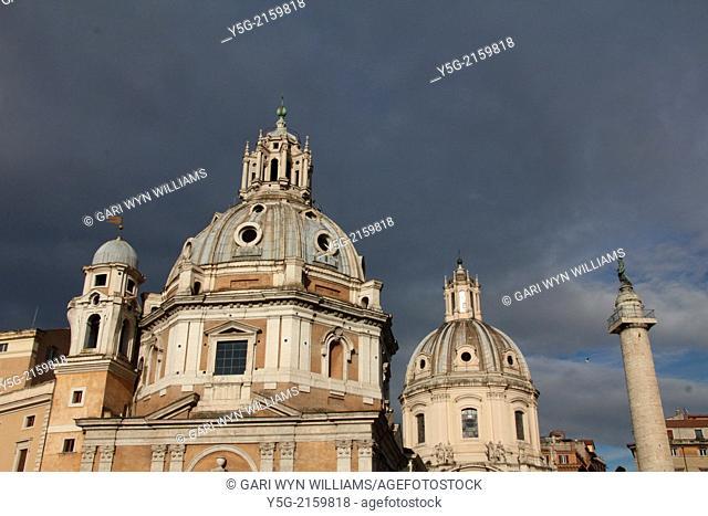 Santa Maria di Loreto and Santissimo Nome di Maria al Foro Traiano churches next to piazza venezia square in rome italy