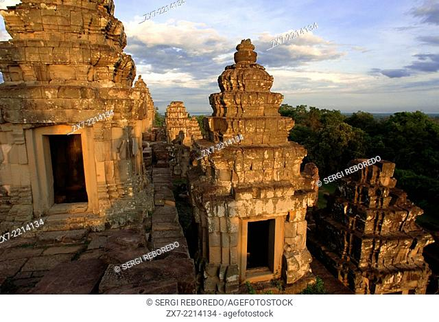 Phnom Bakheng Temple. Sunrise. The construction of this temple mountain on Phnom Bakheng (Bakheng Hill), the first major temple to be constructed in the Angkor...