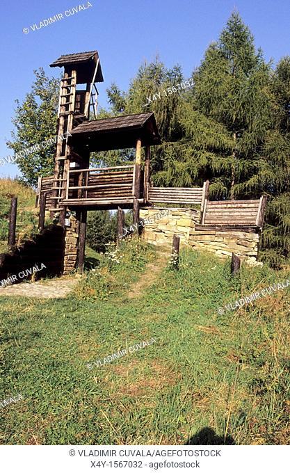 The wooden watch tower at the prehistoric Celtic settlement Havranok near Liptovska Mara, Slovakia