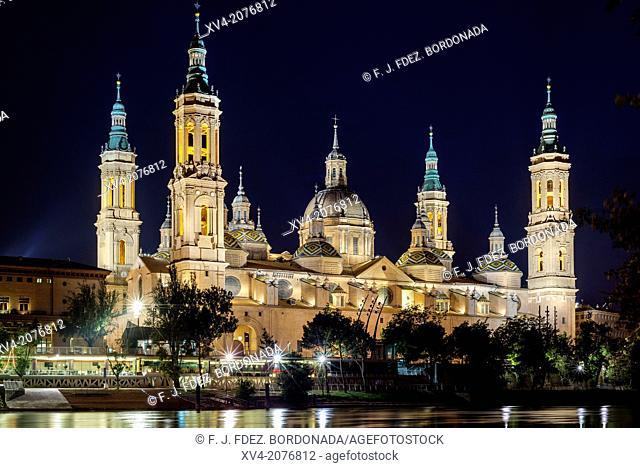 Pilar's Basilic in Zaragoza over Ebro River, Saragossa, Aragon, Spain