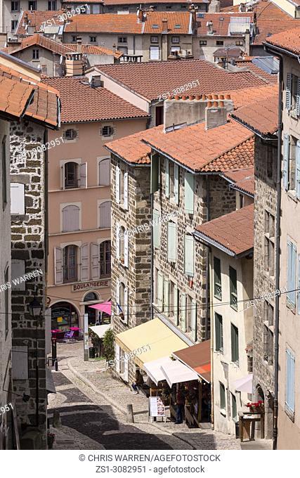 Cobbled street in Le Puy en Velay Haute-Loire Auvergne-Rhône-Alpes France