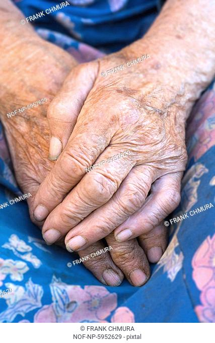Close-Up of wrinkled hands of an old peasant woman from Bohemia. Czech republic