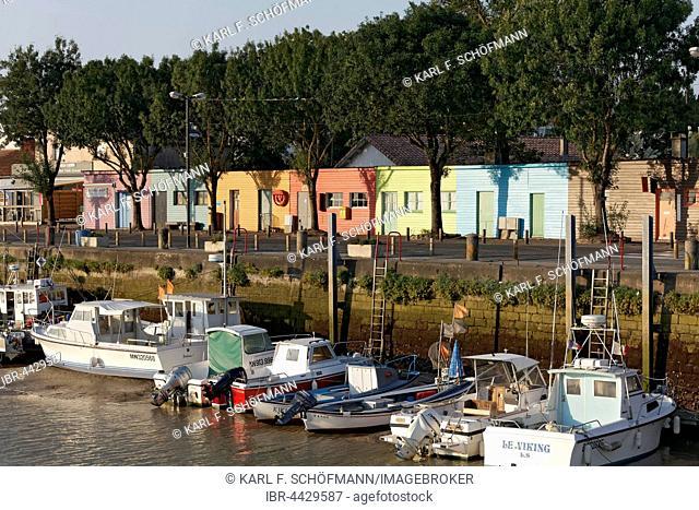 Small harbor with colorful fishing huts, Meschers-sur-Gironde, Cote de Beaute, Charente-Maritime, Poitou-Charentes, France