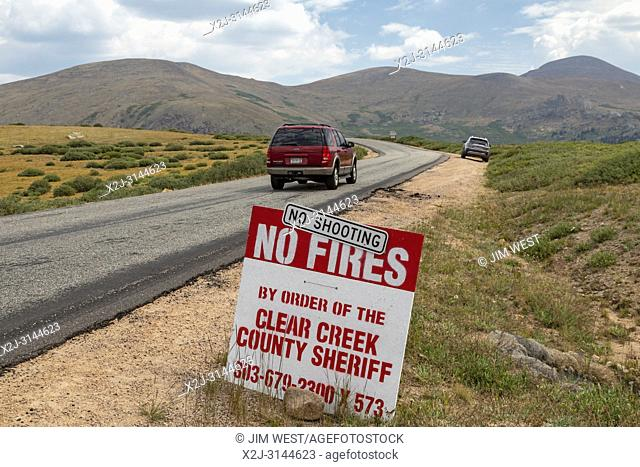 Georgetown, Colorado - A sign near Guanella Pass in the Rocky Mountains prohibits fires and shooting due to drought conditions