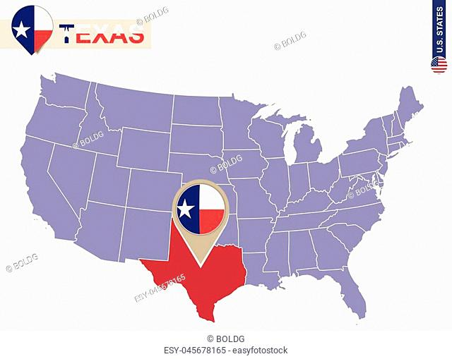 Texas State on USA Map. Texas flag and map. US States