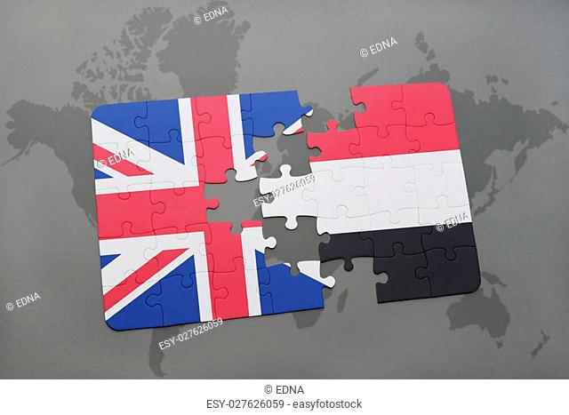 puzzle with the national flag of great britain and yemen on a world map background