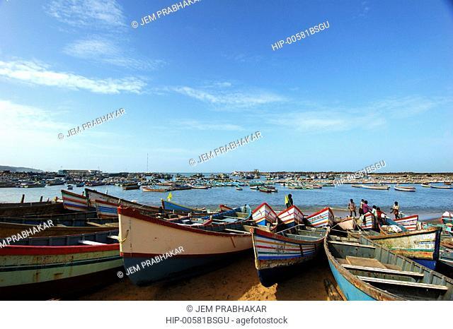 HARBOURED FISHING BOATS IN VIZHINJAM, TRIVANDRUM, KERALA, INDIA