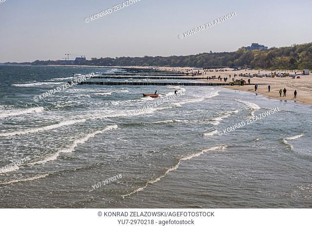Coastline of the Baltic Sea in Kolobrzeg city in West Pomeranian Voivodeship of Poland