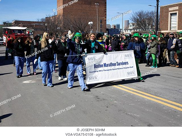 Boston Maraton Bomb Survivors, St. Patrick's Day Parade, 2014, South Boston, Massachusetts, USA