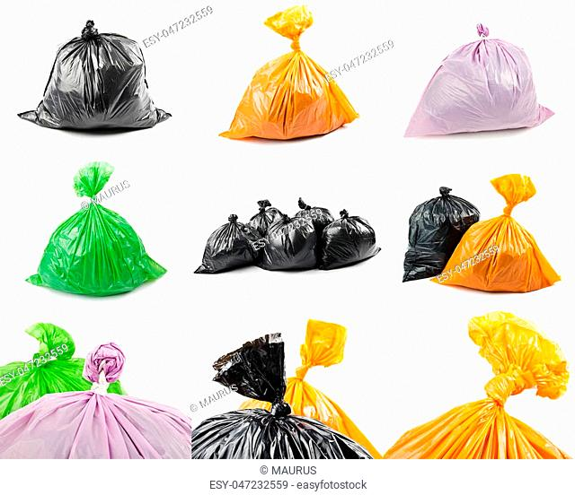A set of colored garbage bags isolated on white background. Collage of garbage bags