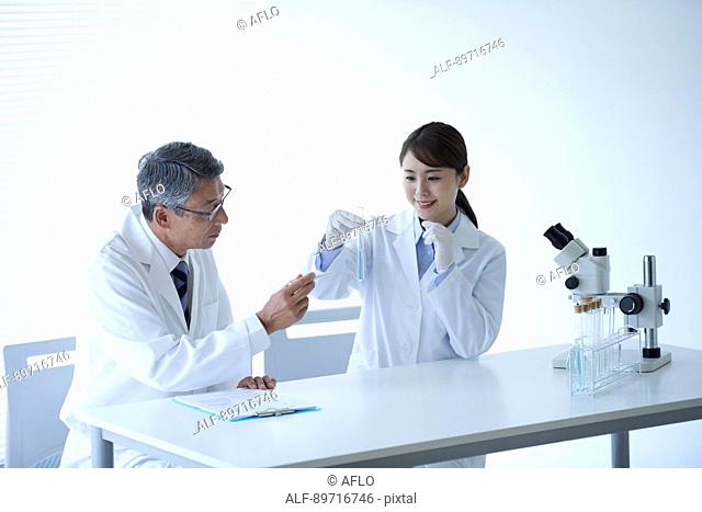 Japanese researchers in the lab