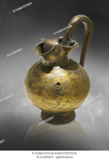 Phrygian bronze trefoil spouted jug from Gordion . Phrygian Collection, 8th century BC - Museum of Anatolian Civilisations Ankara. Turkey