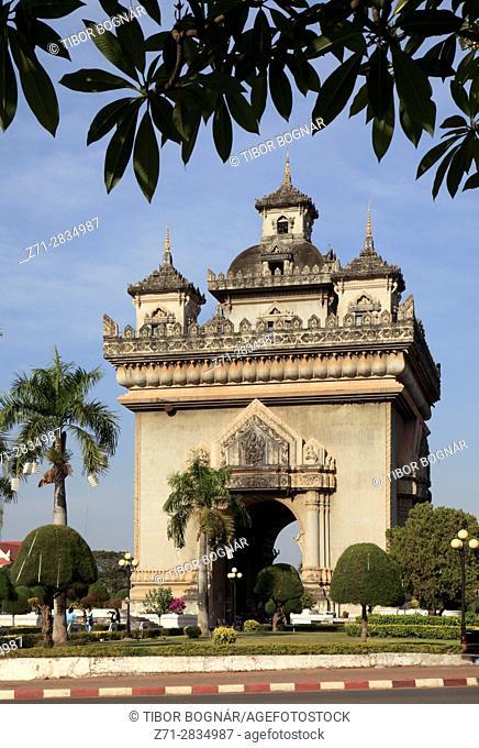 Laos, Vientiane, Patuxai Monument,