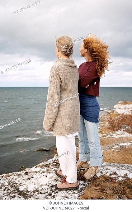 Mother and adult daughter looking at sea