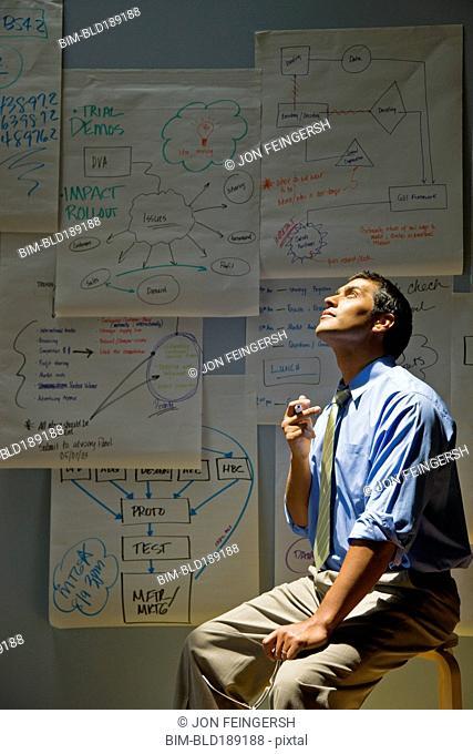 Hispanic businessman brainstorming near flip chart sheets