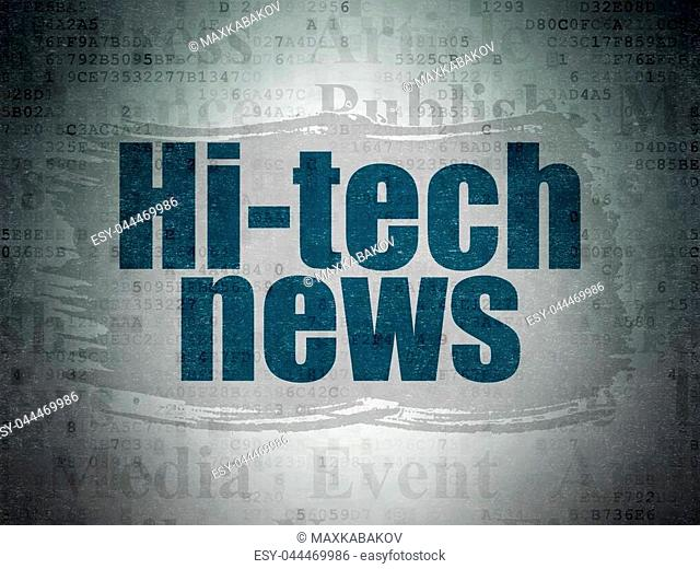 News concept: Painted blue text Hi-tech News on Digital Data Paper background with Tag Cloud