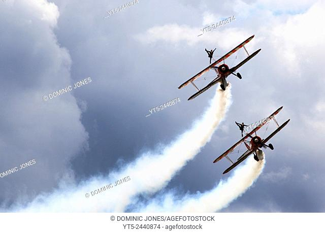 The Breightlings Wingwalkers aerial display at the RAF Cosford Airshow 2014, Cosford, Shropshire, England, Europe