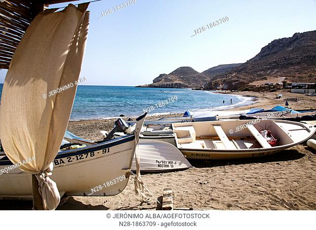 Fishing boats Las Negras beach Cabo de Gata Nijar Almeria Andalusia Spain