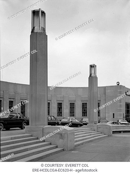 Cincinnati Union Terminal, lighting pylons, constructed in 1933, partially demolished in 1974, Cincinnati, Ohio, photograph circa early 1970s