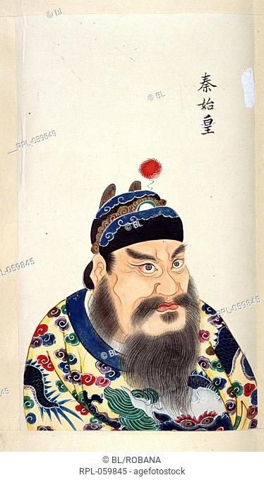 Qin Shi Huangdi First Emperor of China 221-210 BC. Qin dynasty. Image taken from An 18th century album of portraits of 86 emperors of China with Chinese...