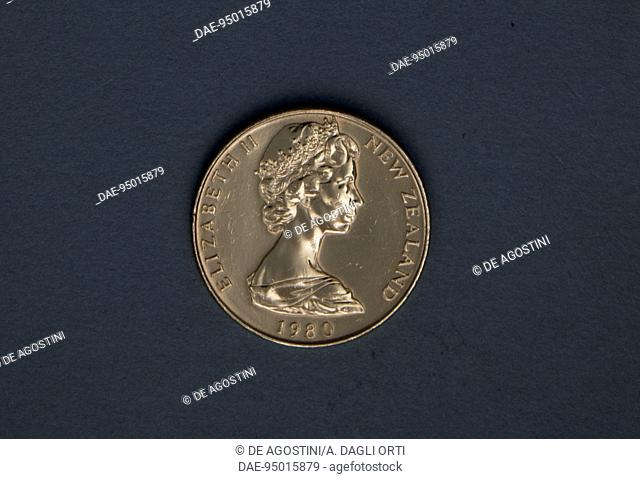1 cent coin, 1980, obverse depicting Elizabeth II (1926 -). New Zealand, 20th century