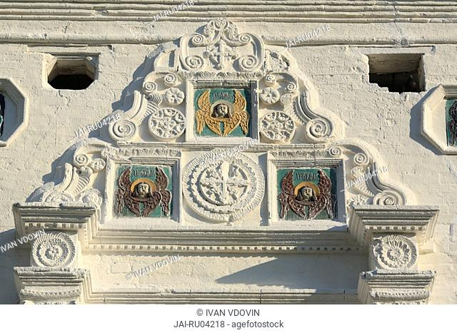 Ceramic tiles with cherubims, Church of Holy Spirit 1689, Solotcha, near Ryazan, Ryazan region, Russia