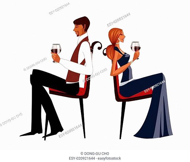 Elegant couple holding wineglass