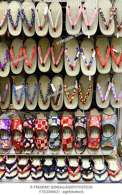 Traditional slippers for sale, Japan, Asia. Japan, Asia