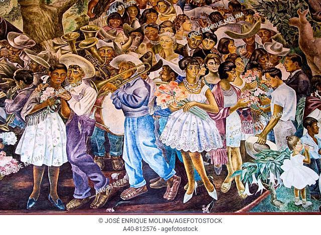 Mexico.Aguascalientes.Palace of Gobierno.Murals of  O. Barra Cunningham.Representation of a popular festivity