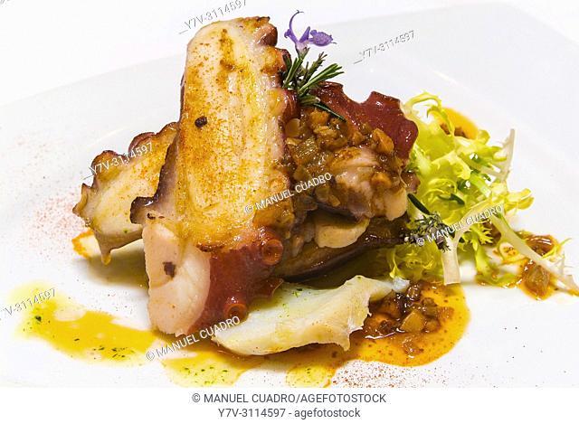Plato de Ensalada de pulpo bras y láminas de bacalao (grilled octopus with cod sheets salad). Restaurante Akebaso, Axpe, Biscay, Basque Country, Spain