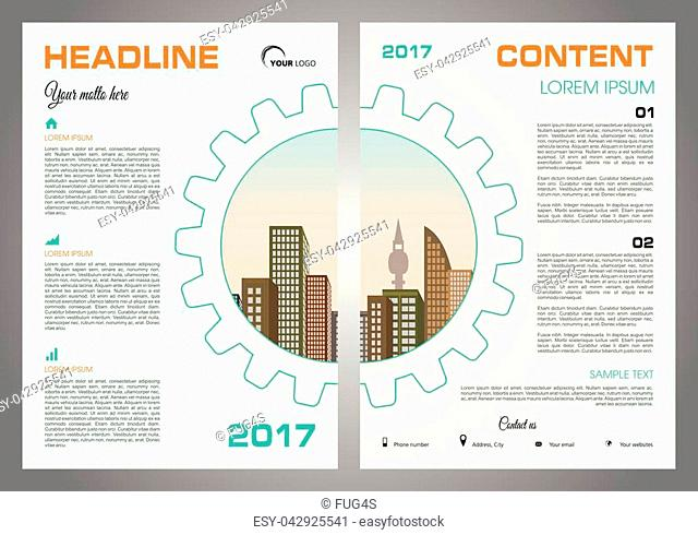 Vector flyer, corporate business, annual report, brochure design and cover presentation with gear and vector city in orange color