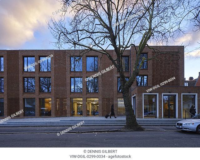 Winter view of entrance frontage. Newnham College, Cambridge, Cambridge, United Kingdom. Architect: Walters and Cohen Ltd, 2018