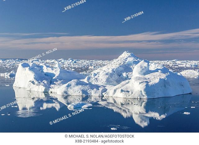 Huge icebergs calved from the Ilulissat Glacier, a UNESCO World Heritage Site, Ilulissat, Greenland