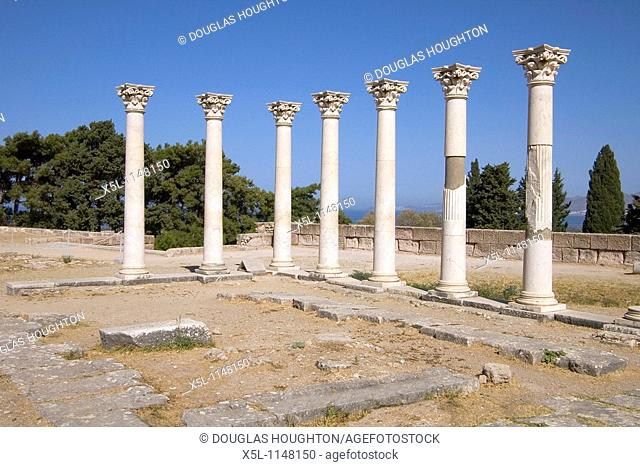 Temple of Apollo ASKLEPEION GREECE KOS Temple of Apollo ruined pillars second terrace