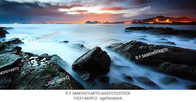 South wind on the Rebanal coast at sunrise, Castro Urdiales, Cantabria, Spain