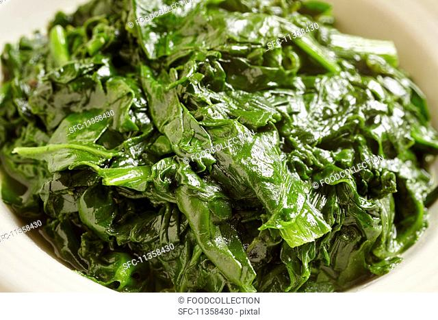 Spinach cooked in butter