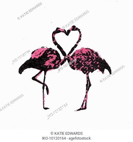 Two flamingos face to face with necks forming heart shape